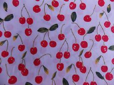 CHERRIES FABRIC 100% COTTON  PER METRE